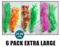6 Pack Mixed Aquarium Plastic Plants 35-40cm
